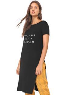 Camiseta My Favorite Thing(S) Alongada Fenda Preta