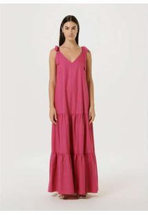 Vestido Longo Evasê Com Amarração Rosa