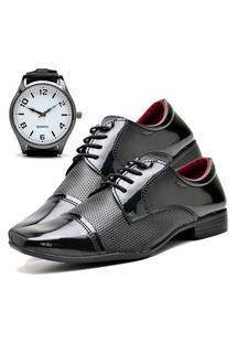 Sapato Social Masculino Db Now Com Relógio New Dubuy 707Od Preto