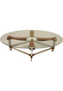 Mesa De Centro Decorativa Oval Em Aço Inox Lantus Com Detalhes De Couro
