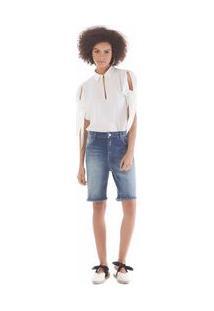 Bermuda Comfort Detalhe Picueta Jeans 38