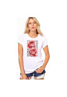 Camiseta Coolest Duas Rosas Branco