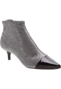Ankle Boot Em Couro Com Glitter - Prateada & Preta- Schutz