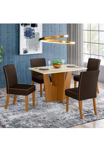 Conjunto De Mesa 1,20Cm Com 4 Para Sala De Jantar Cadeiras Vitoria-Henn - Nature / Off White / Marrom