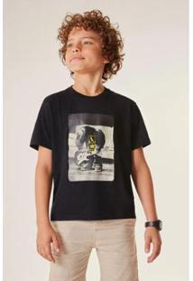 Camiseta Infantil Estampada Mini Sm Ministar Reserva Mini Masculina - Masculino-Preto