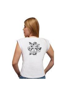 Camiseta Casual 100% Algodão Estampa Medusa Avalon Cf01 Branca