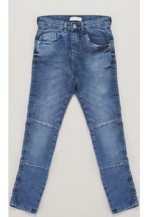 Calça Jeans Infantil Com Recorte Azul Escuro