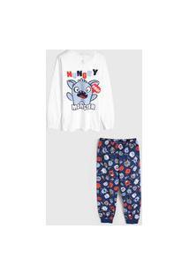 Pijama Malwee Liberta Longo Infantil Monstrinho Branco/Azul