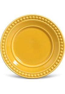 Prato Sobremesa Atenas Cerâmica 6 Peças Mostarda Porto Brasil