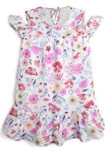 Vestido Malwee Kids Floral Branco/Rosa
