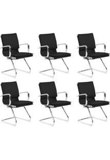 Conjunto Com 6 Cadeiras De Escritório Interlocutor Fixas Eames Comfort Preto