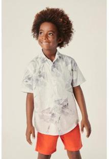 Camisa Infantil Reserva Mini Mc Hibisco Masculina - Masculino-Branco