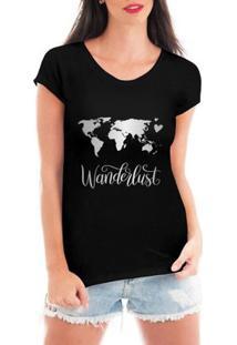 Camiseta Criativa Urbana Wanderlust Mapa - Feminino