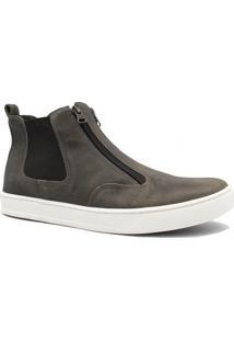 Bota Zariff Shoes Casual Em Couro Zíper Cinza