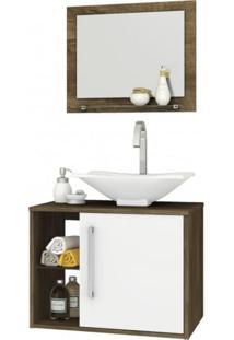 Gabinete Para Banheiro Com Cuba E Espelheira Baden Móveis Bechara Madeira Rústica/Branco
