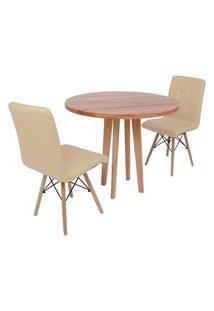 Conjunto Mesa De Jantar Em Madeira 90Cm Com Base Vértice + 2 Cadeiras Gomos - Nude