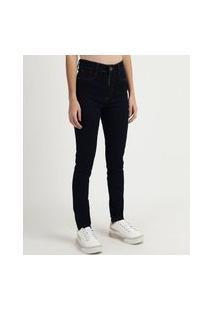 Calça Jeans Feminina Sawary Super Skinny Cintura Alta Com Cinta Azul Marinho