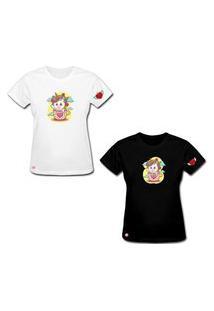 Camiseta Feminina Unicórnio De Algodão Preto