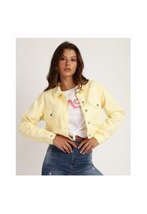 Jaqueta Jeans Feminina Cropped Com Bolsos Amarela