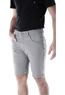 Bermuda Sarja 5 Bolsos Slim Com Elastano Cimento Traymon 645 - Cinza - Masculino - Dafiti