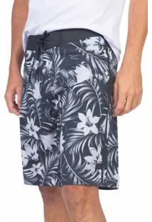 Boardshort Surf Stretch Floral Preto