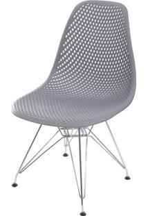 Cadeira Eames Furadinha Cor Cinza Com Base Cromada - 55989 - Sun House