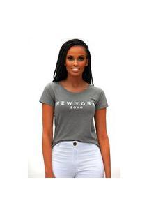 Camiseta Miss Glamour Store New York Chumbo
