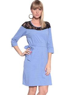 Vestido Energia Fashion Mg 3/4 Azul