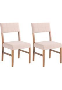 Conjunto Com 2 Cadeiras De Jantar Brenda Bege E Imbuia