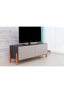 Rack Para Tv Preto Moderno Vintage Retrô Com 2 Portas Cinza Eric - 126X43,6X48,5 Cm