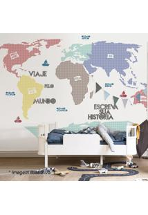 Adesivo De Parede Mapa Mundi Xadrez- Azul & Vermelhogrudado