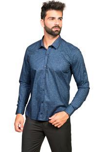Camisa Manga Longa Tony Menswear Slim Estampada Azul