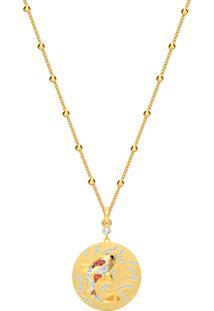 Colar Feminino Dourado Shine Fish Em Metal - Ouro