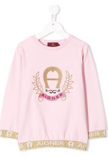 Aigner Kids Logo Print Sweatshirt - Rosa