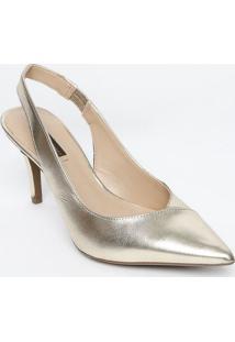Sapato Chanel Em Couro Com Recortes - Dourado - Saltjorge Bischoff