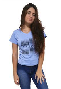 Camiseta Feminina Gola V Cellos Degradê Premium Azul Claro - Kanui