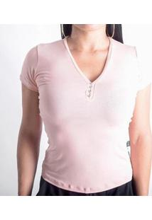 Camiseta Viscolycra Duquesa Feminina - Feminino-Rosa