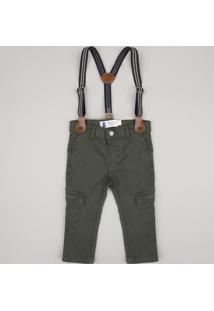 Calça De Sarja Infantil Cargo + Suspensório Verde