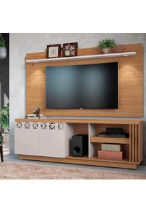 Rack Com Painel Para Tv Até 65 Polegadas 2 Portas Com Espelho Astúrias Colibri Móveis Natural Real/Off White