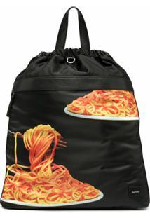 Paul Smith Mochila Com Estampa De Espaguete E Ajuste Por Cordão - Preto