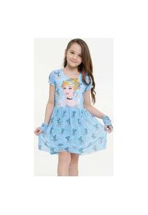Vestido Infantil Cinderela Brinde Disney Tam 4 A 10