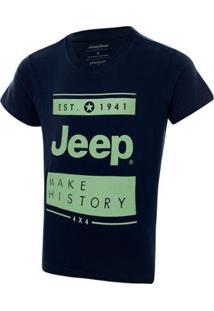 Camiseta Infantil Jeep Block Feminina - Feminino-Azul+Marinho