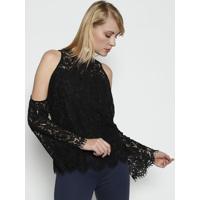 a2eff27106 Blusa Em Renda Com Recortes Vazados - Pretathe Style Box