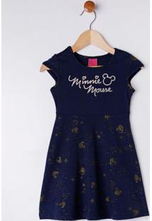Vestido Disney Infantil Para Menina - Azul Marinho