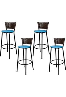 Banquetas Para Cozinha Café 4Un Assento Preto/Azul
