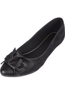 Sapatilha Trivalle Shoes Preta Com Laço