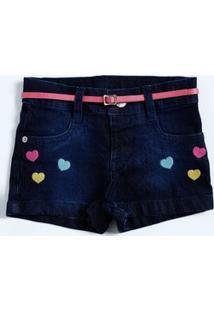 Short Infantil Jeans Bordado Coração Marisa