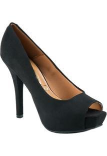 Sapato Peep Toe Camurça Flex - Vizzano - Feminino