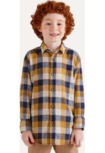 Camisa Mini Pf Xadrez Quadra Amarelo