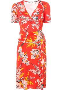 8defef62c6 Dvf Diane Von Furstenberg Vestido Floral De Seda - Vermelho